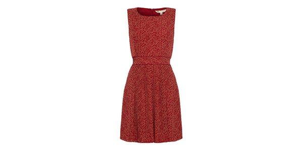 Dámske červené šaty s oranžovými bodkami Yumi