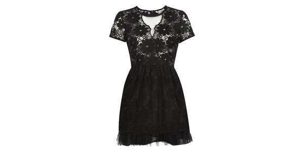 Dámske čierne šaty s kvetmi Yumi