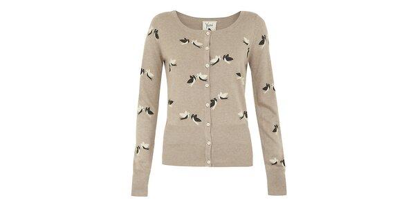 Dámsky béžový svetrík s vtáčikmi Yumi
