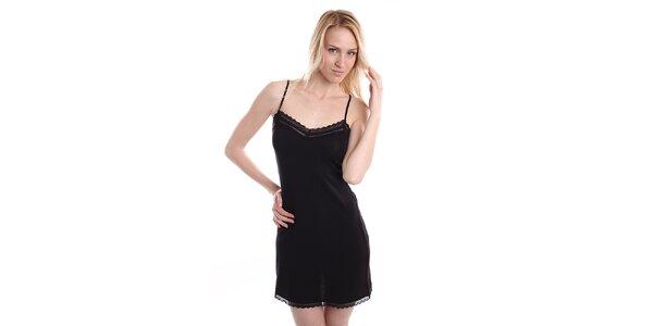 Dámska čierna nočná košeľa so špagetovými ramienkami DKNY