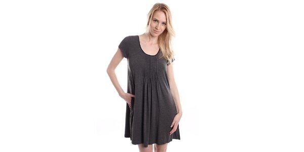 Dámska sivá nočná košeľa s plisovaním DKNY