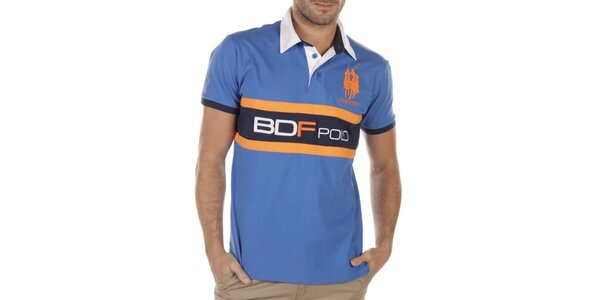 Pánske modré polo s oranžovými prvkami Bendorff Next