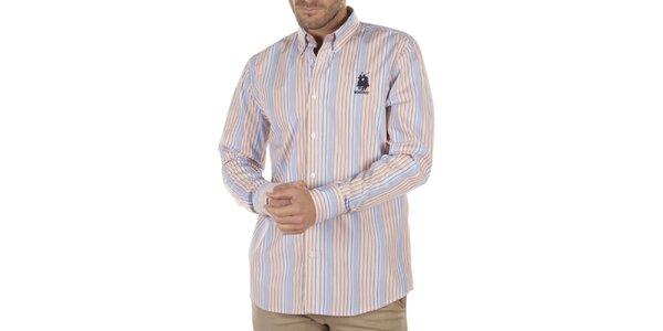 Pánska pruhovaná košeľa s čiernou výšivkou Bendorff Next