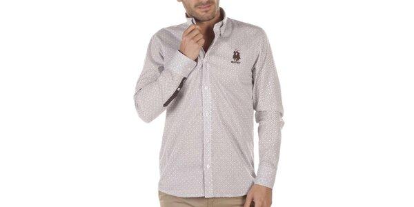 Pánska košeľa s drobným vzorom a hnedou výšivkou Bendorff Next