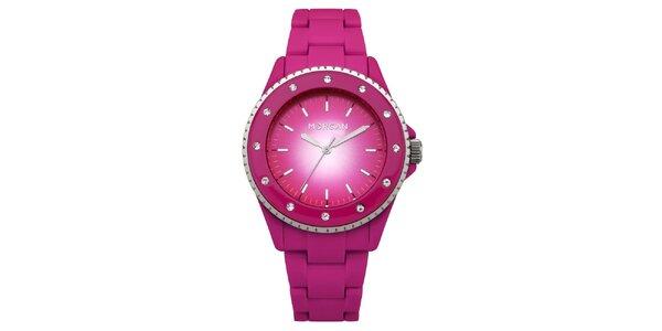 Dámske ružové hodinky s kryštálmi Morgan de Toi
