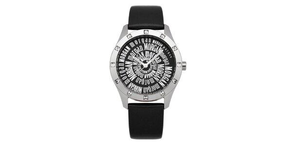 Dámske čierne hodinky s kryštálmi Morgan de Toi