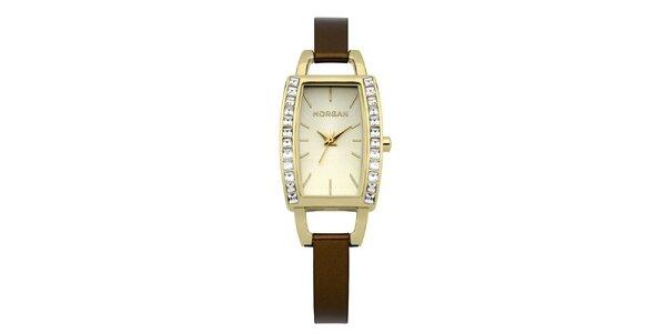 Dámske hnedo-zlaté hodinky s kryštálmi Morgan de Toi
