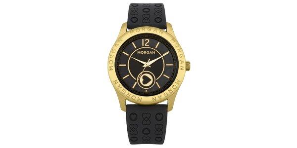 Dámske čierne hodinky s púzdrom v zlatej farbe Morgan de Toi