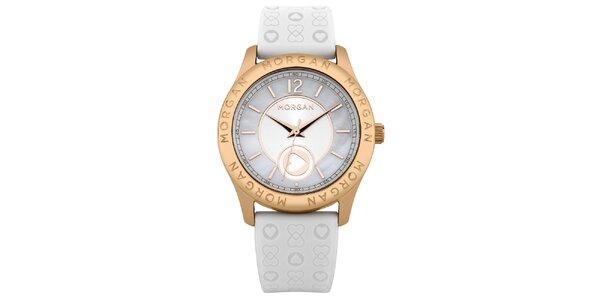 Dámske biele hodinky so srdiečkami Morgan de Toi
