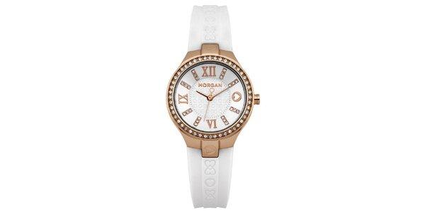 Dámske analógové hodinky s bielym remienkom Morgan de Toi