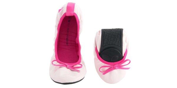 Dámske svetlo ružové balerínky s mašľou Butterfly Twists