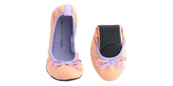 Dámske broskyňovo-fialové balerínky s mašľou Butterfly Twists