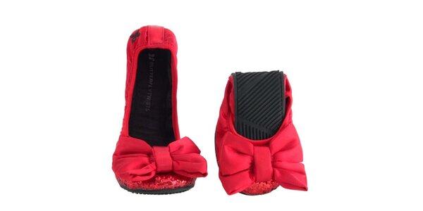 Dámske červené baleríny s mašľou a flitrami Butterfly Twists