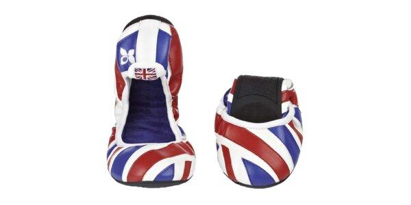 Dámske baleríny s britskou vlajkou Butterfly Twists