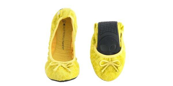 Dámske žlté balerínky s mašličkou Butterfly Twists