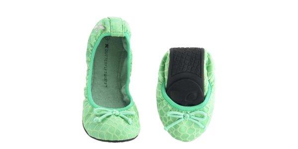 Dámske zelené balerínky s mašličkou Butterfly Twists
