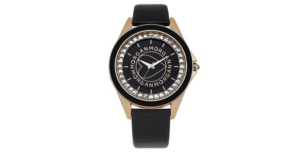 Dámske čierne analógové hodinky z ocele Morgan de Toi