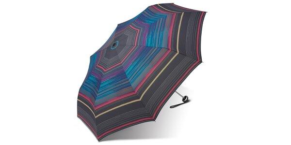 Dámsky skladací dáždnik Esprit s pestrými prúžkami