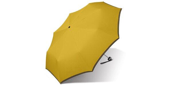 Dámsky kanárikovo žltý dáždnik Esprit s čiernym lemom