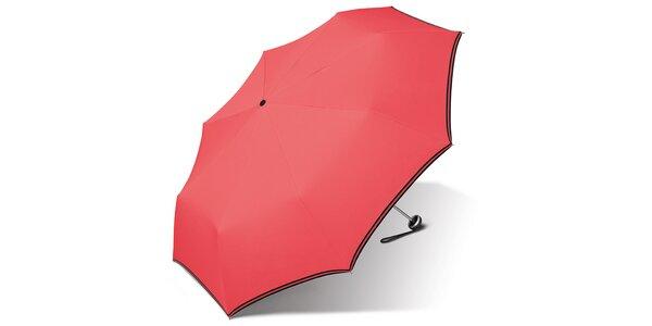 Dámsky korálovo ružový dáždnik Esprit s čiernym lemom