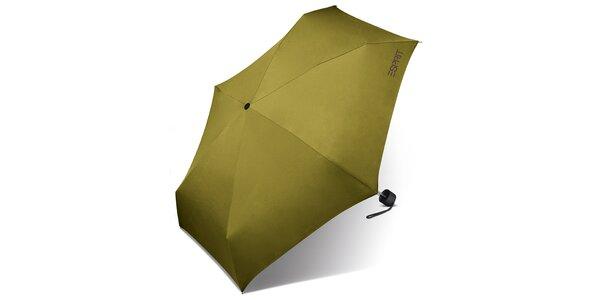 Dámsky limetkovo zelený skladací dáždnik Esprit s fialovým logom