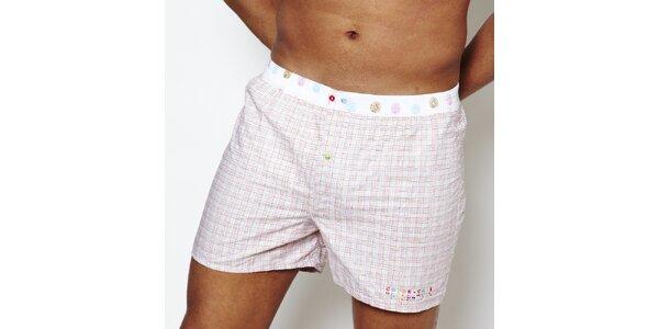Pánske biele kárované boxerky Color Code