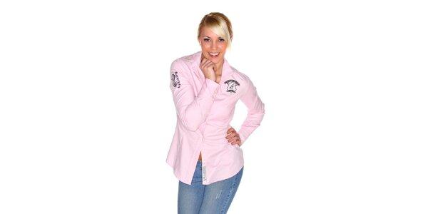 Dámska svetlo ružová košeľa M. Conte s výšivkou