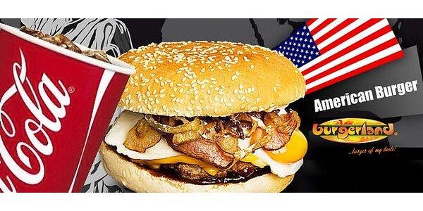 AMERICAN burger + 0.5l nápoj podľa výberu v Burgerlande