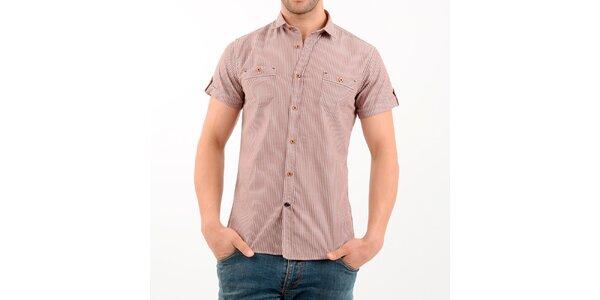 Pánska hnedo-biela pruhovaná košeľa Wessi