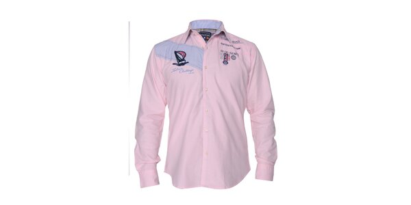 Pánska svetlo ružová košeľa s nášivkami na hrudi Giorgio di Mare