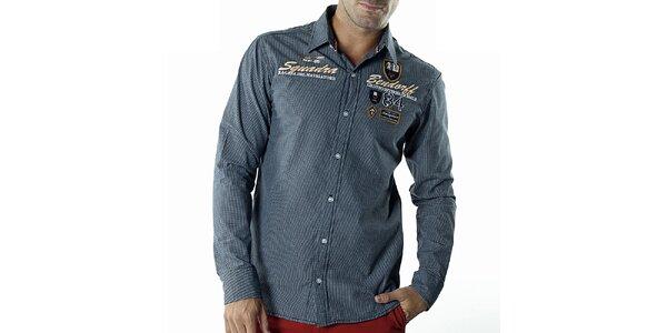 Pánska modrá kockovaná košeľa s nášivkami Bendorff