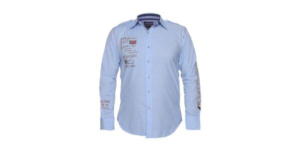 Pánska svetlo modrá košeľa s výšivkami Giorgio di Mare