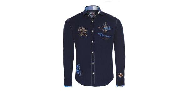Pánska tmavo modrá košeľa so zlatými výšivkami Giorgio di Mare