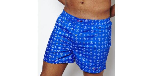 Pánske modré trenírky s mierovými znakmi Color Code