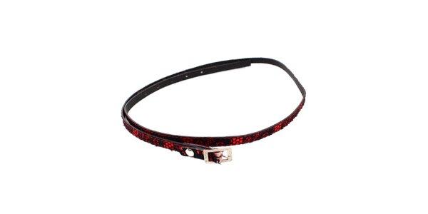 Dámsky červený opasok s čiernou čipkou Bagatt
