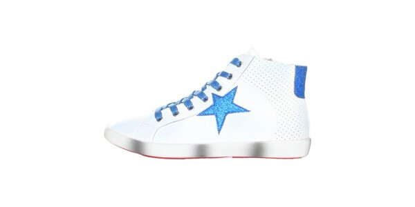 Dámske biele tenisky s modrou hviezdou Ana Lublin