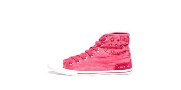 Dámske ružové členkové tenisky s hviezdičkami Big Star