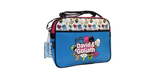 Modrá taška cez rameno s potlačou David&Goliath