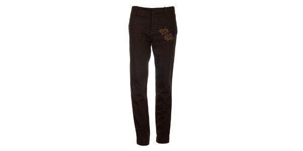 Dámske hnedé bavlnené nohavice Desigual s výšivkou