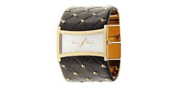 Dámske zlaté oceľové hodinky Thierry Mugler so širokým hnedým koženým remienkom
