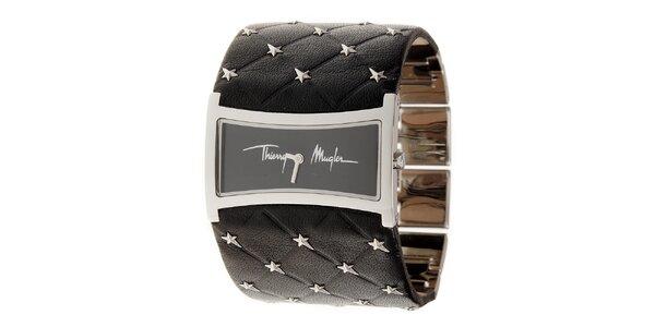 Dámske strieborné náramkové hodinky Thierry Mugler so širokým čiernym koženým…
