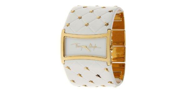 Dámske zlaté oceľové hodinky Thierry Mugler so širokým bielym koženým remienkom