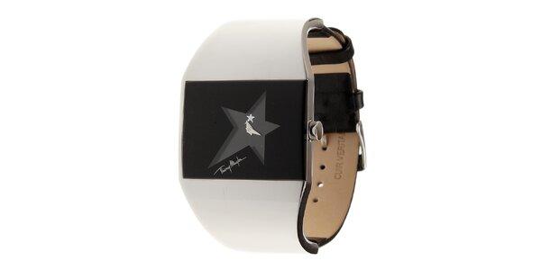 Dámske čierno-strieborné hodinky Thierry Mugler s čiernym koženým remienkom
