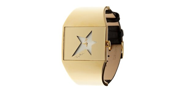 Dámske zlaté oceľové hodinky Thierry Mugler s koženým remienkom