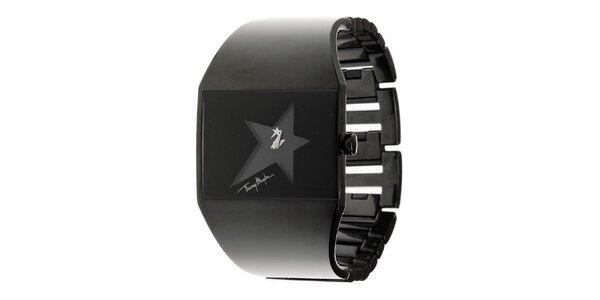 Dámske čierne oceľové hodinky Thierry Mugler