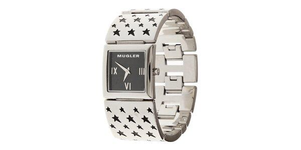 Dámske oceľové hodinky Thierry Mugler s čiernymi kviezdičkami