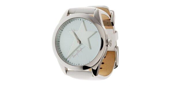 Dámske oceľové hodinky Thierry Mugler s bielym koženým remienkom