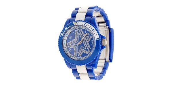 Dámske modré hodinky Thierry Mugler so strieborými detailami a kamienkami