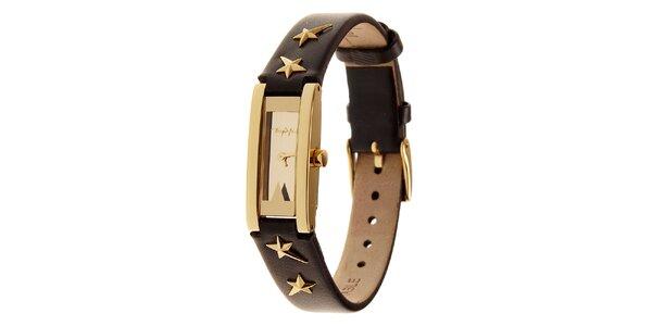 Dámske zlaté oceľové hodinky Thierry Mugler s čiernym koženým remienkom