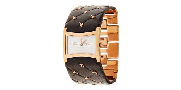 Dámske zlaté oceľové hodinky Thierry Mugler s tmavo hnedým koženým remienkom